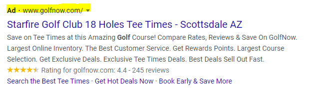 golf course search engine marketing